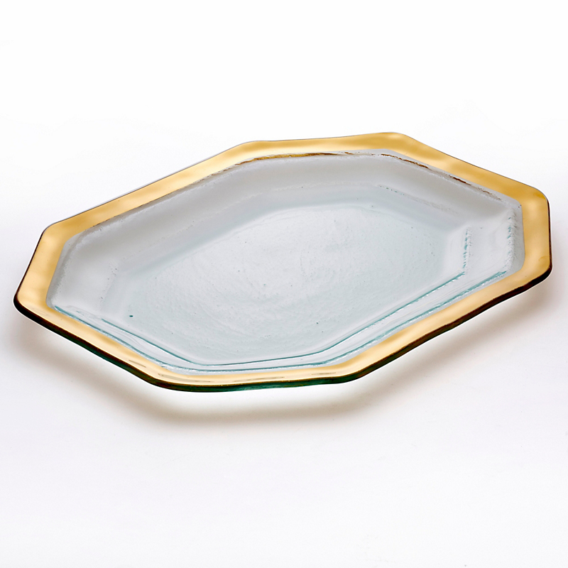 Annieglass Roman Antique Steak Platter, Large Gold