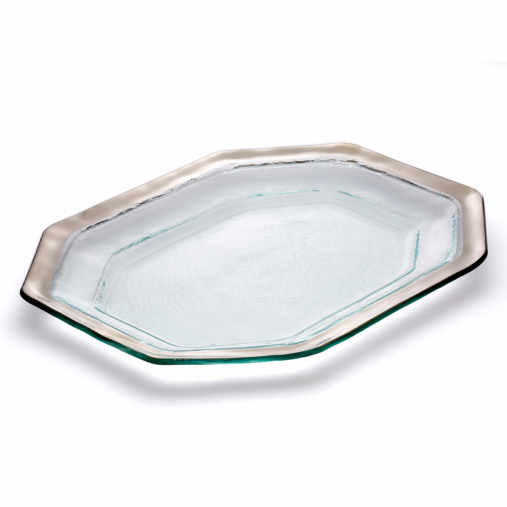 Annieglass Roman Antique Steak Platter, Large Platinum