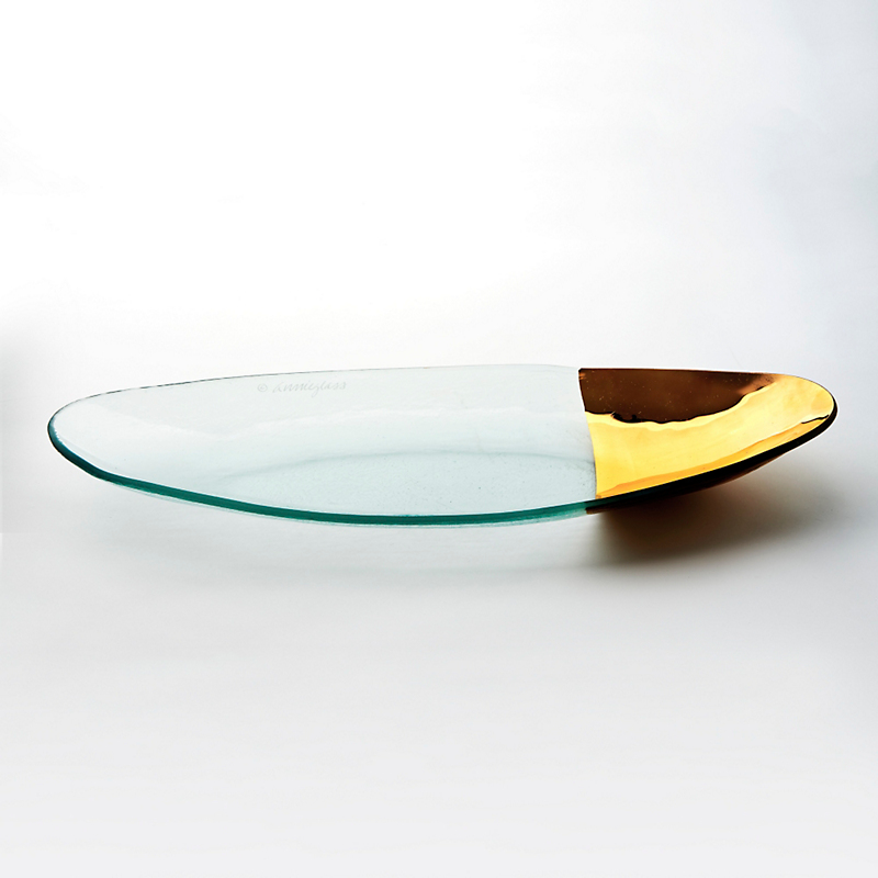 Annieglass Gold-Tipped Mod Oval Platter, Large