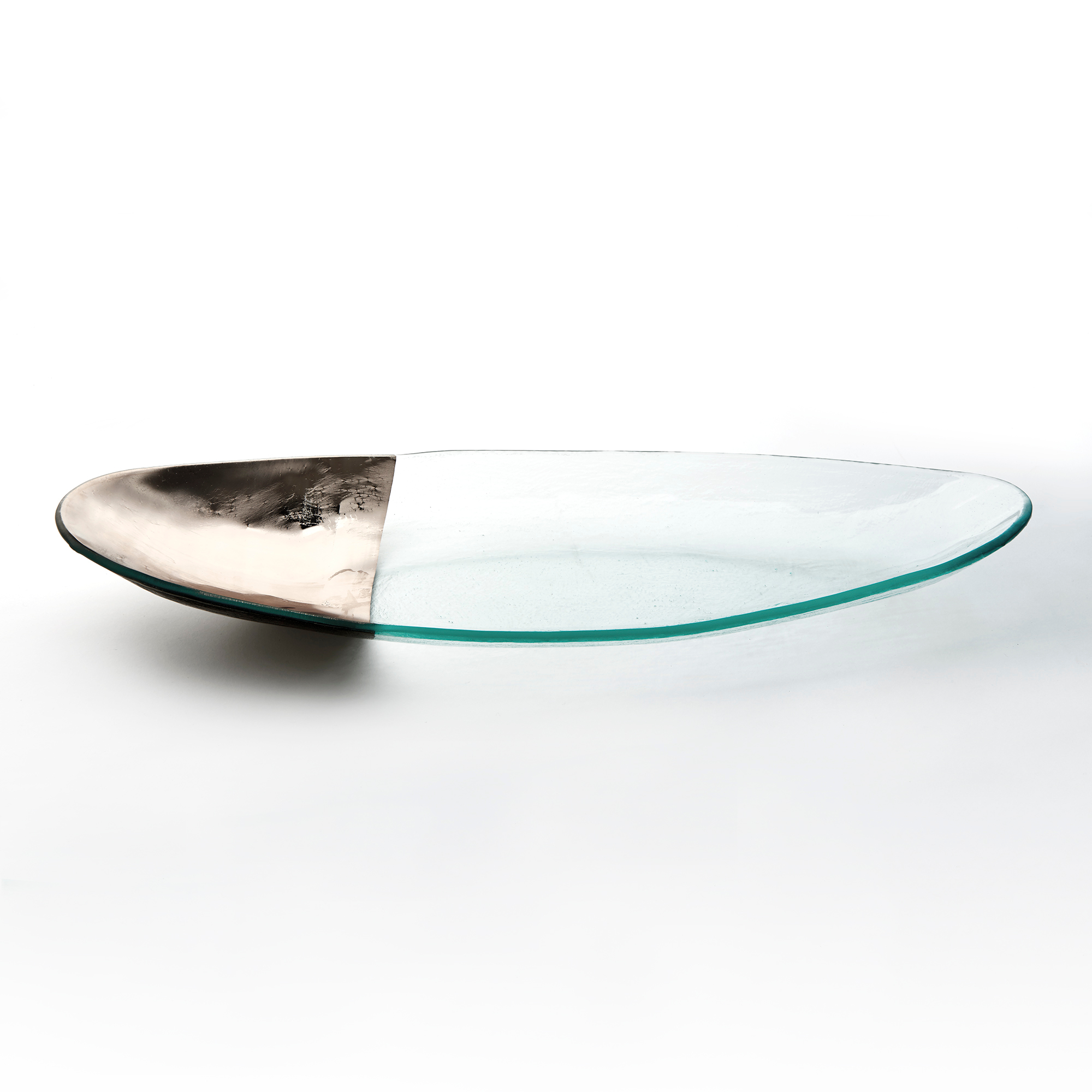 Annieglass Platinum-Tipped Mod Oval Platter, Large