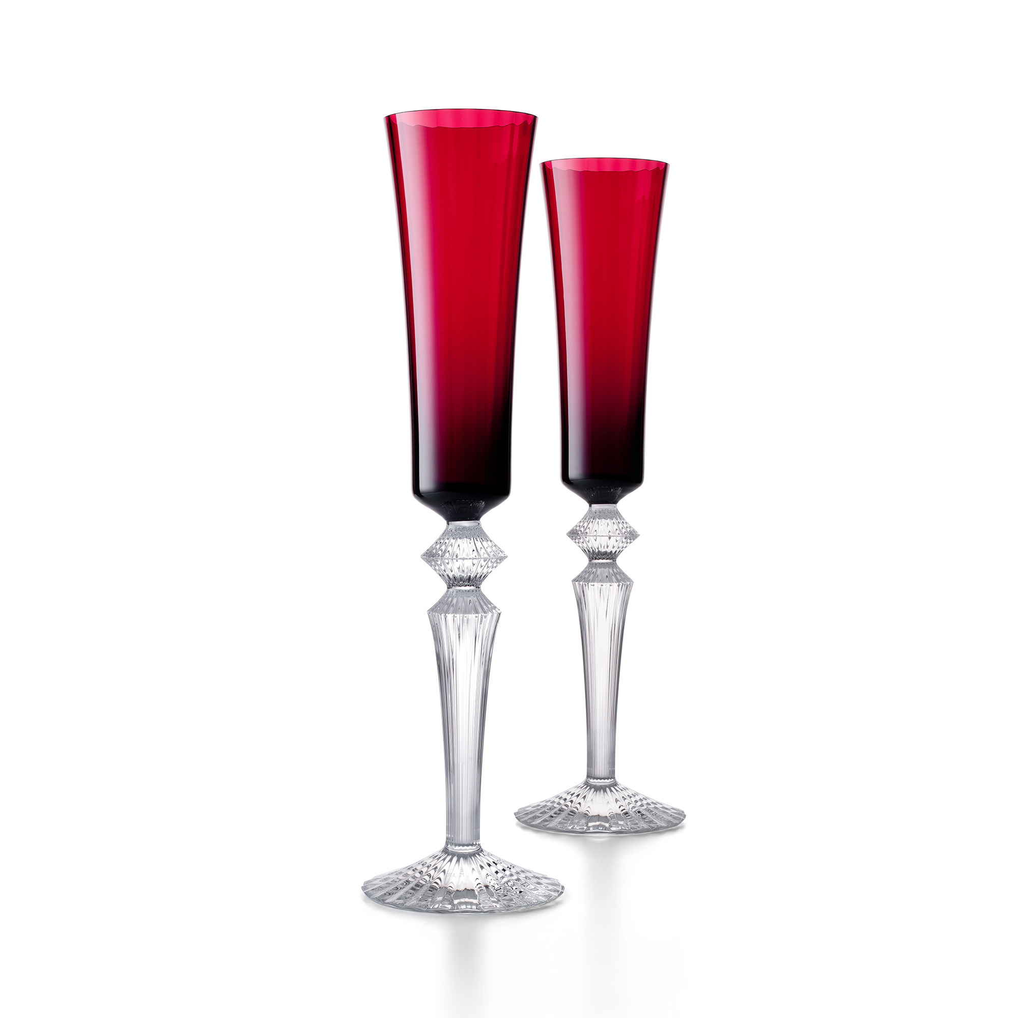Baccarat Mille Nuits Flutissimo Flutes, Set of 2 Red
