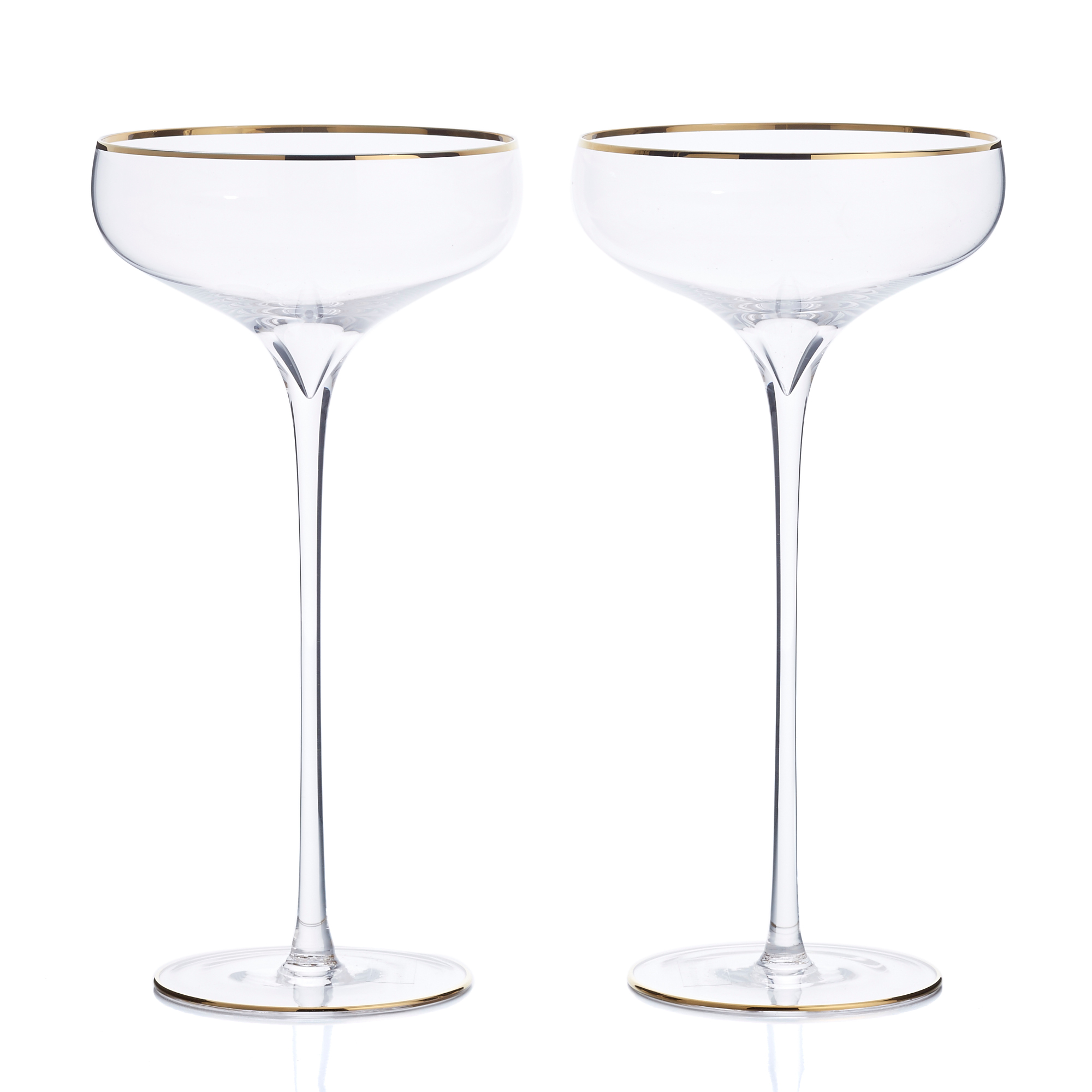 Lsa International Gold Celebrate Champagne Saucers Glasses, Set of 2
