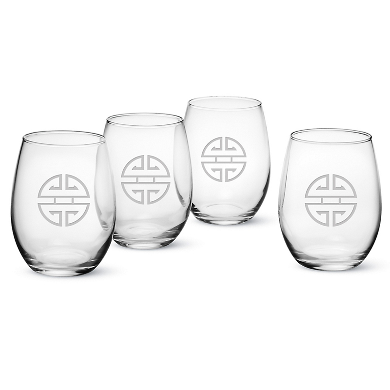 Gump's Shou Stemless Glasses, Set of 4