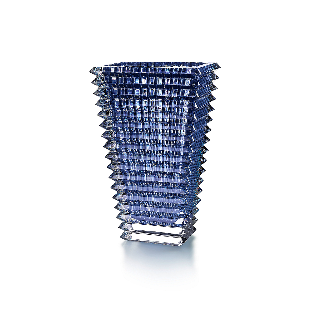 Baccarat Eye Rectangular Blue Vase, Small