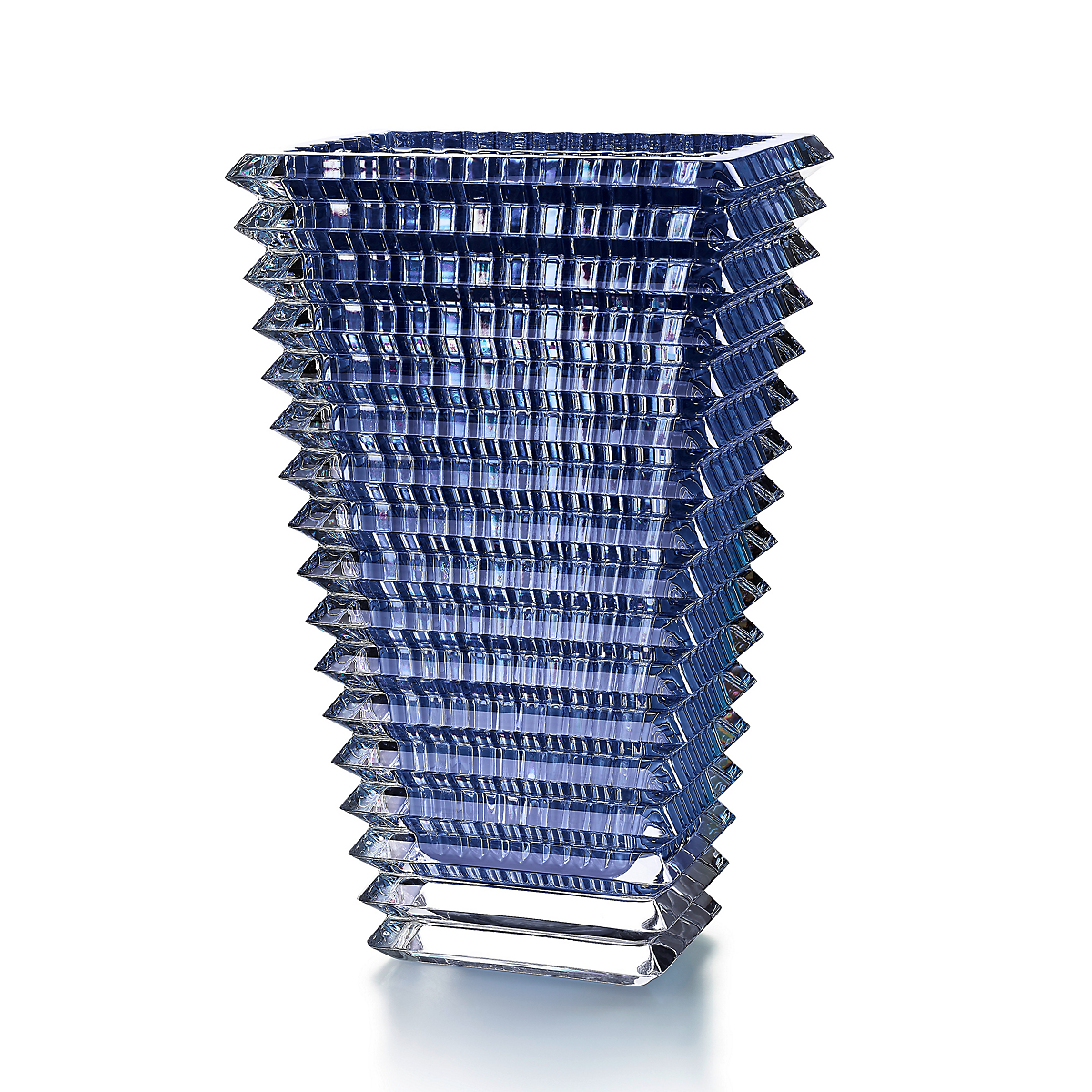 Baccarat Eye Rectangular Blue Vase, Large