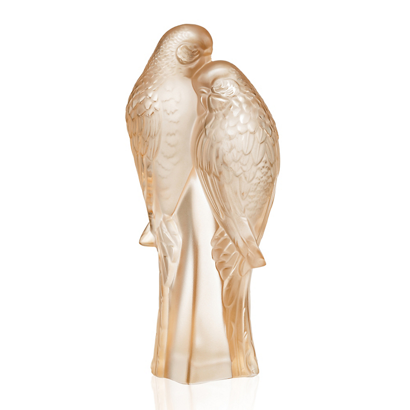 Lalique Two Parakeets, Goldluster