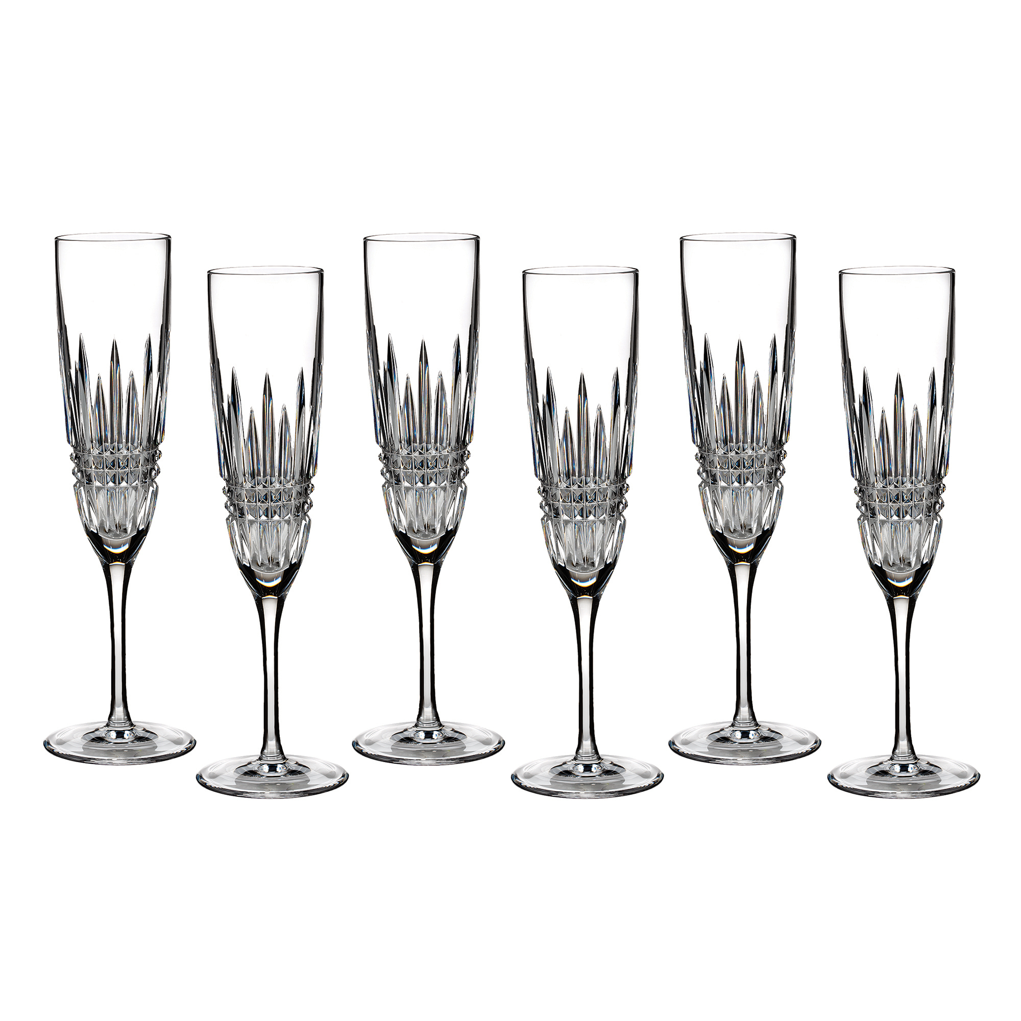Waterford Lismore Diamond Flutes, Set of 6