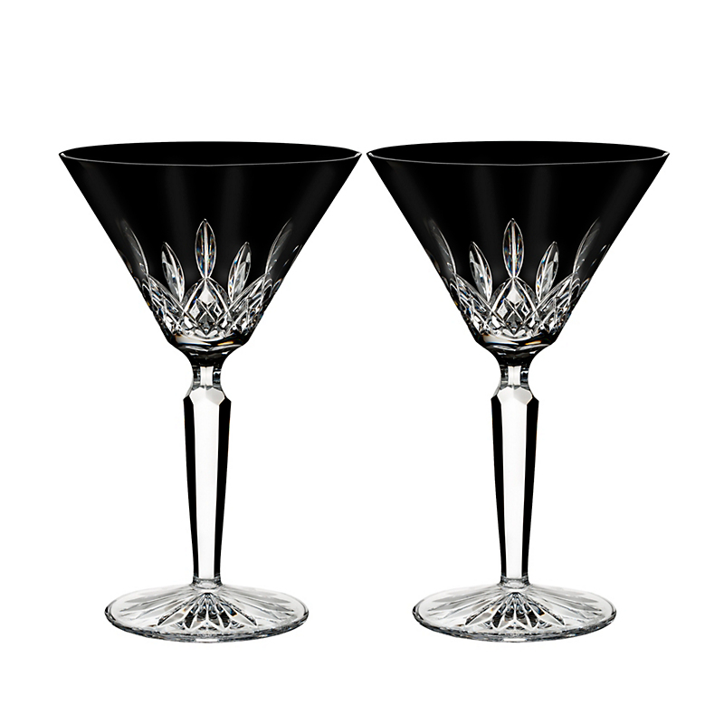 Waterford Lismore Martini Glasses, Black Set of 2