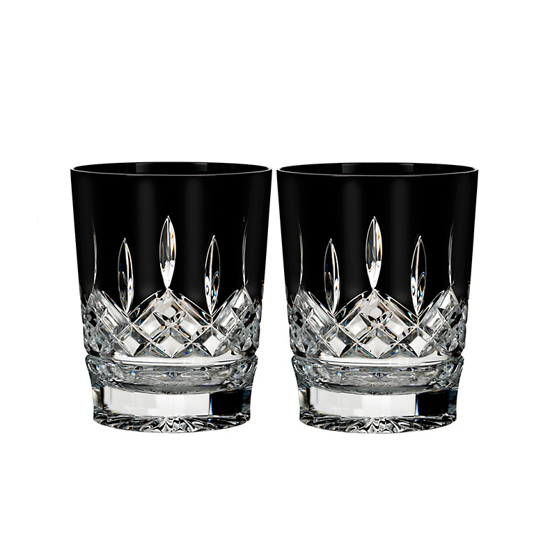 Waterford Lismore Double Old-Fashioned Glasses, Black Set of 2