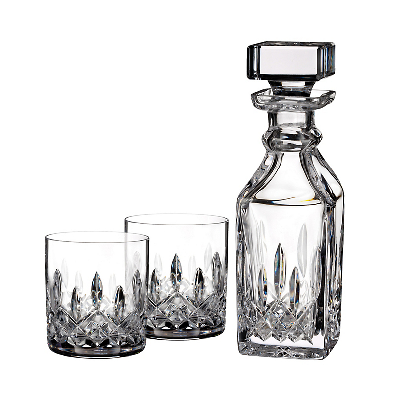 Waterford Connoisseur Decanter & Set of 2 Double Old-Fashioned Glasses