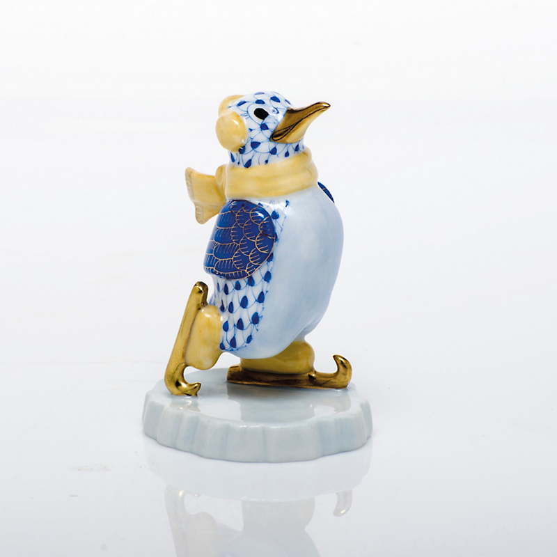 Herend Ice Skating Penguin, Sapphire