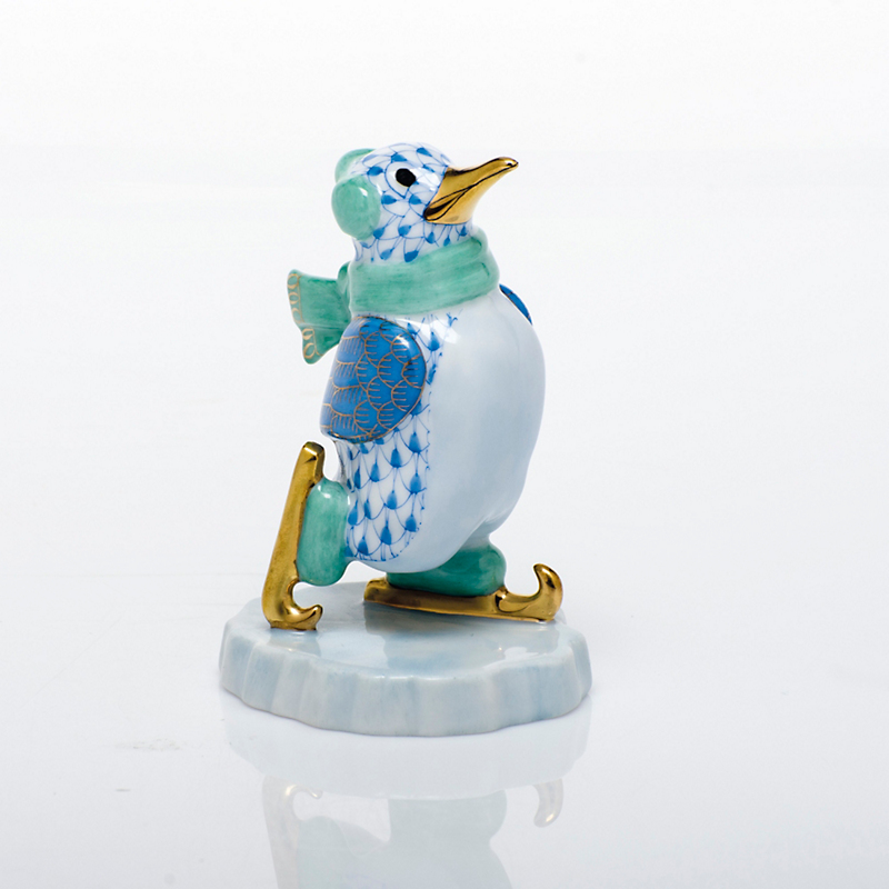Herend Ice Skating Penguin, Blue