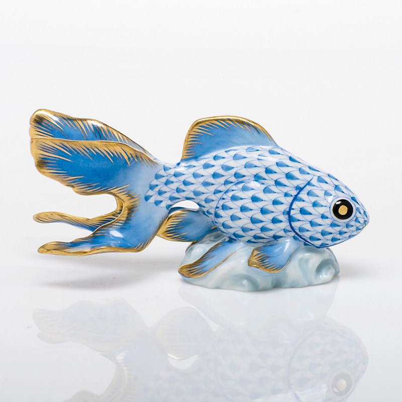 Herend Fantail Fish, Blue