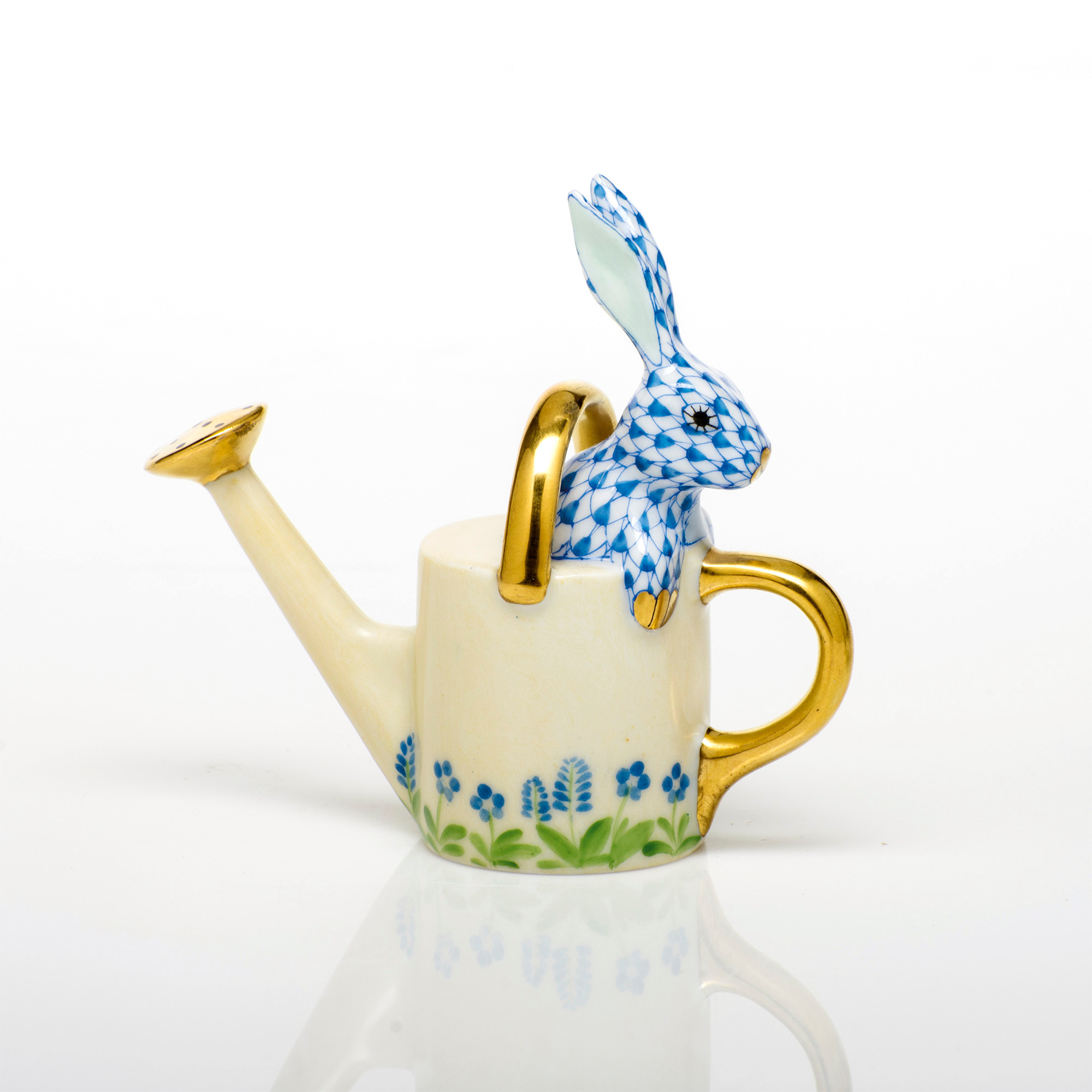 Herend Watering Can Bunny, Blue