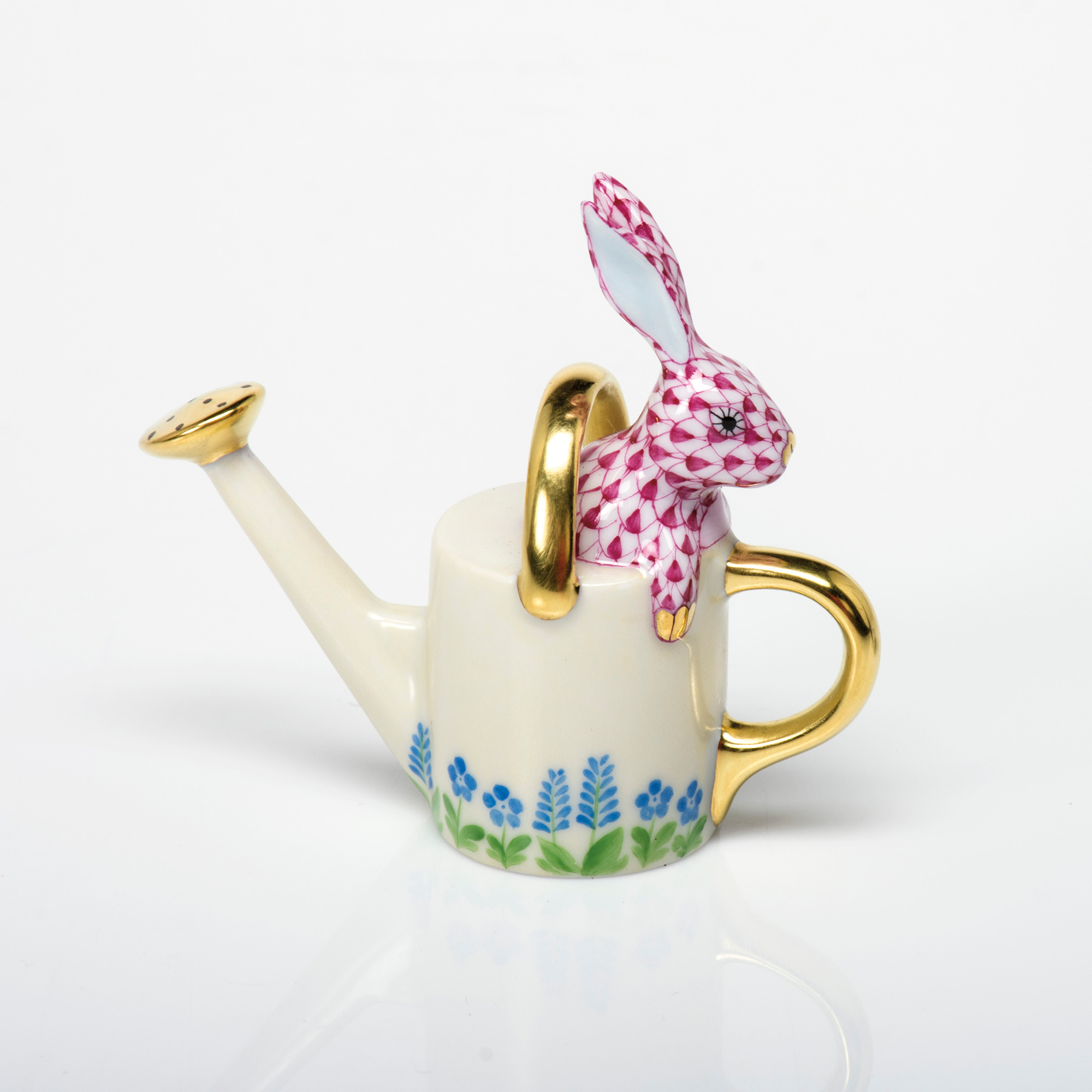 Herend Watering Can Bunny, Raspberry
