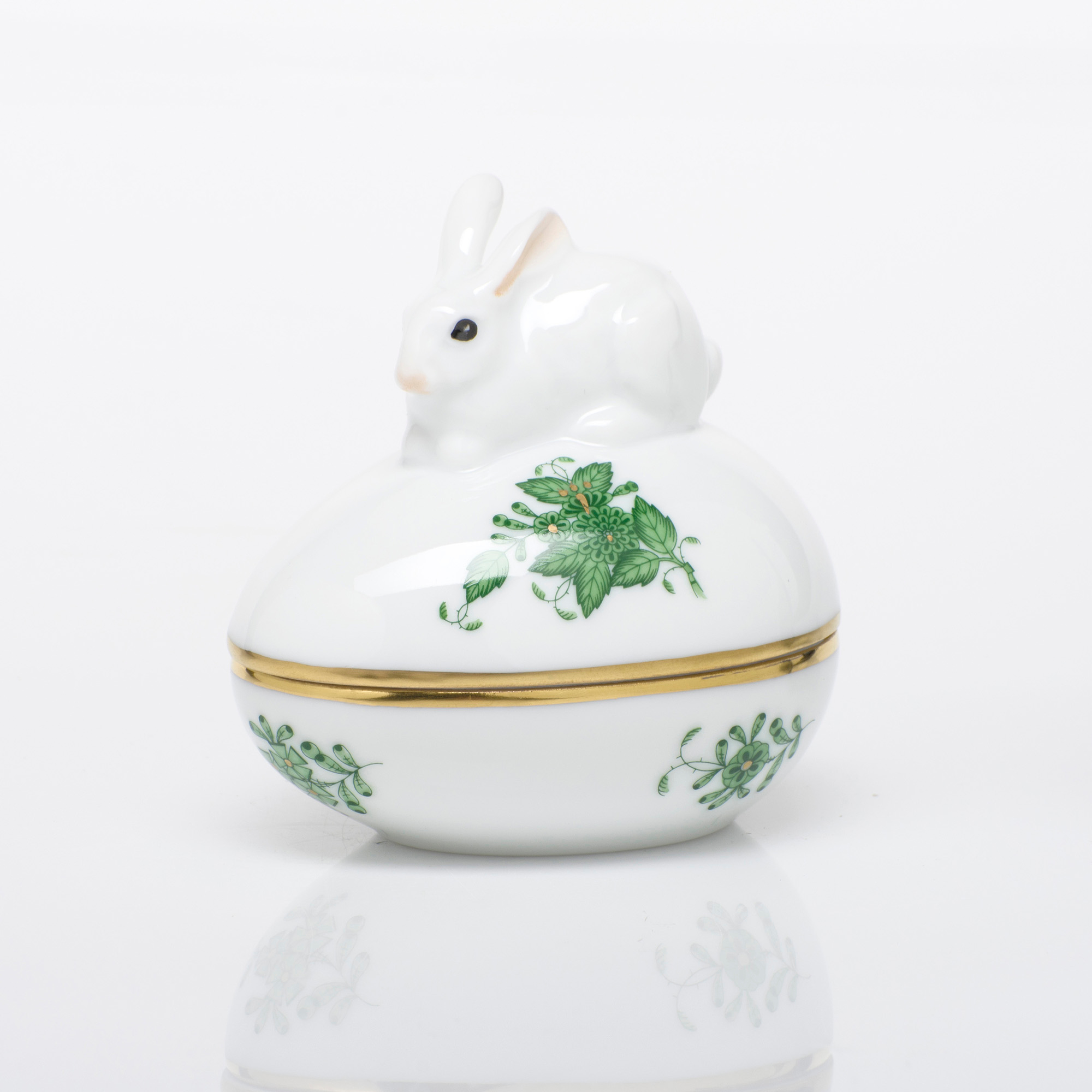 Herend Egg Bonbon with Bunny, Green