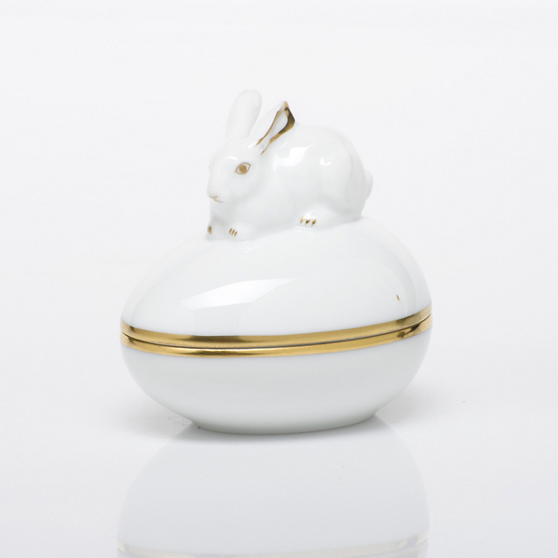Herend Egg Bonbon with Bunny, White