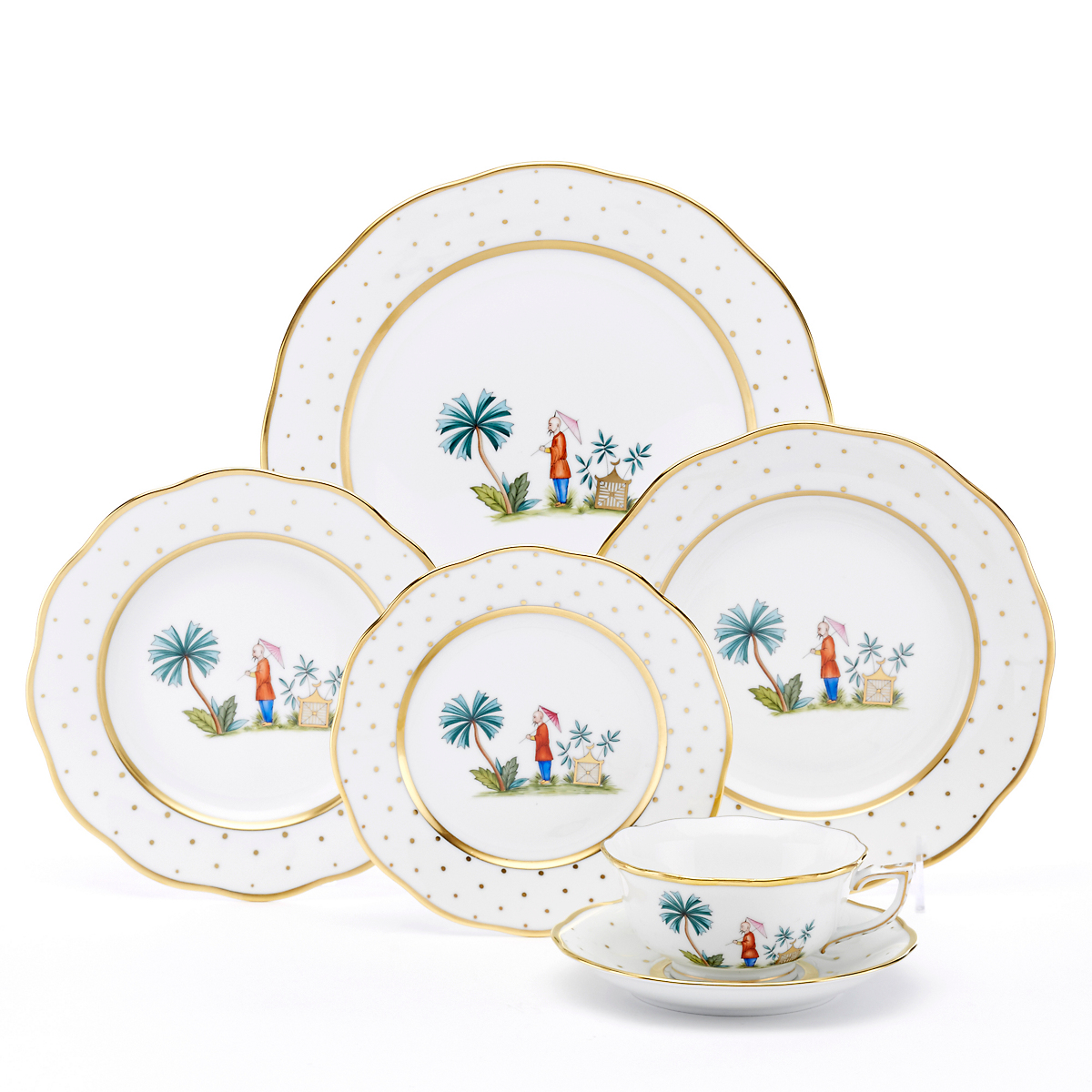 Asian garden dinnerware