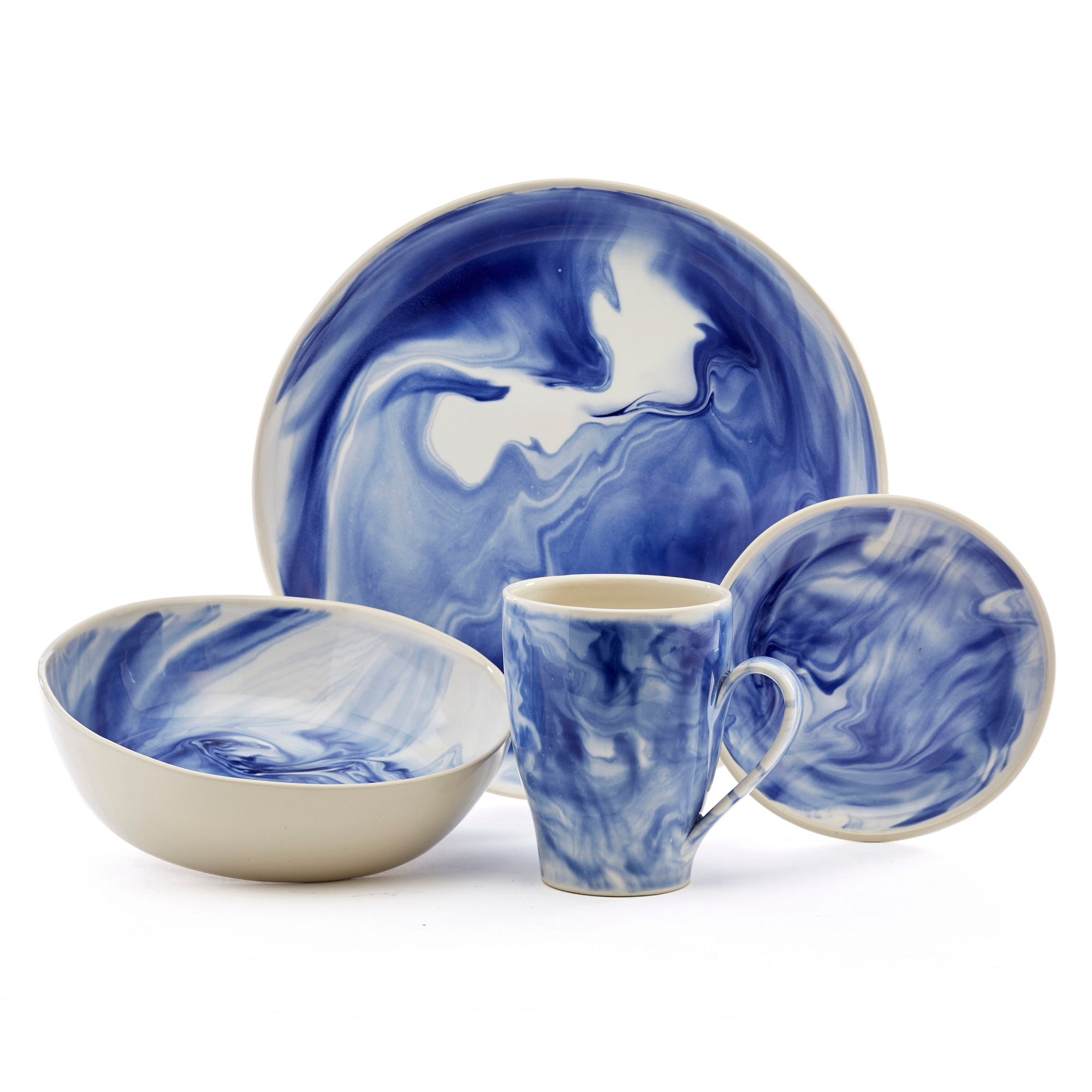 Simon Pearce Marble Dinnerware, Blue