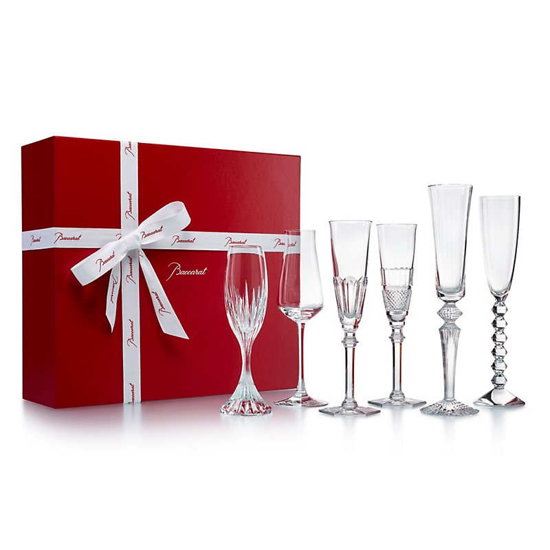 Baccarat Assorted Champagne Flutes, Set of 6