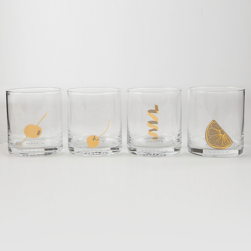 Garnish Artwork Glasses, Set of 4