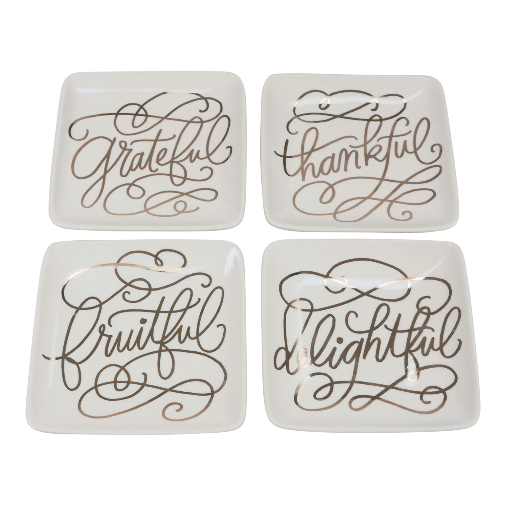 Grateful Appetizer Plates, Set of 4
