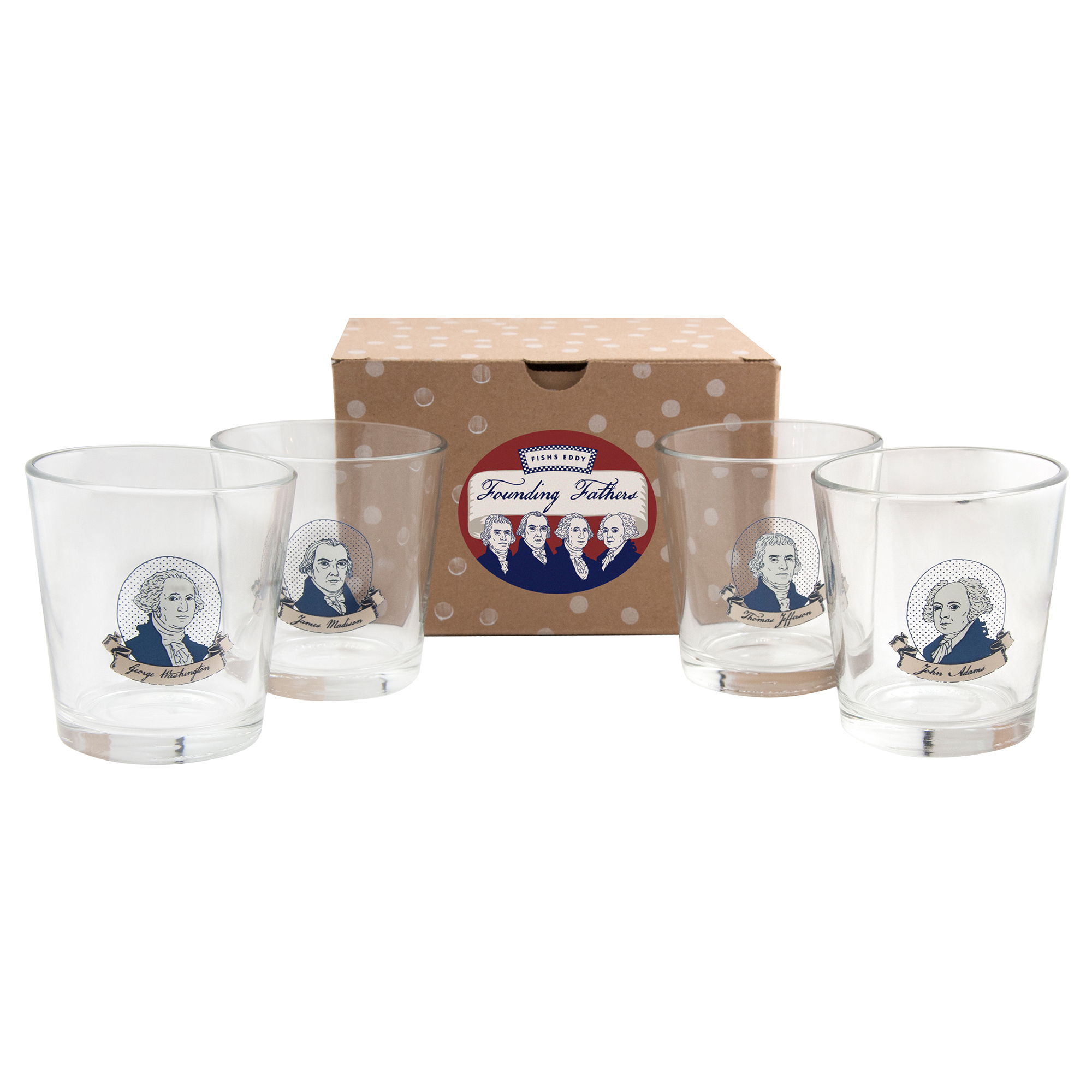 Founding Fathers Glasses, Set of 4