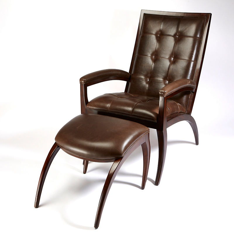 Theodore Alexander Leather Chair & Ottoman