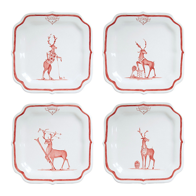 Juliska Reindeer Country Estate Hors D'oeuvre Plates, Ruby Set of 4