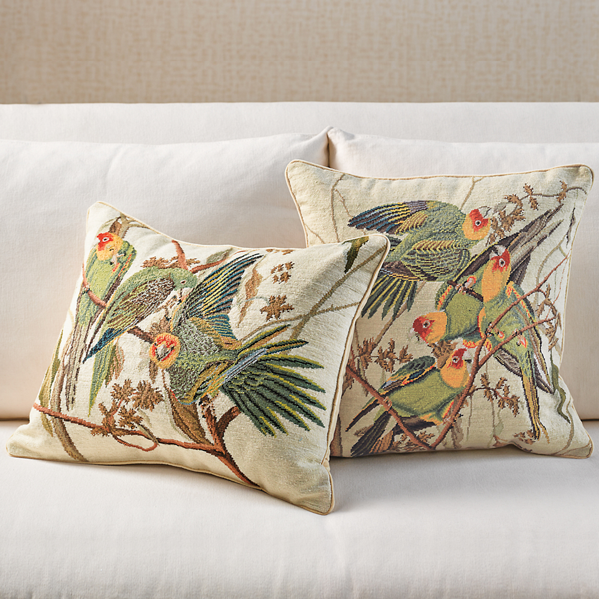 Parrot Needlepoint Pillows