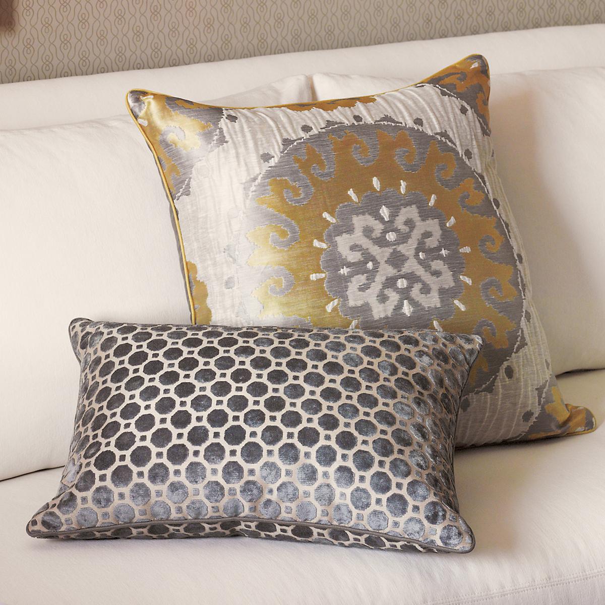 Gold Medallion & Velvet Geo Pillows
