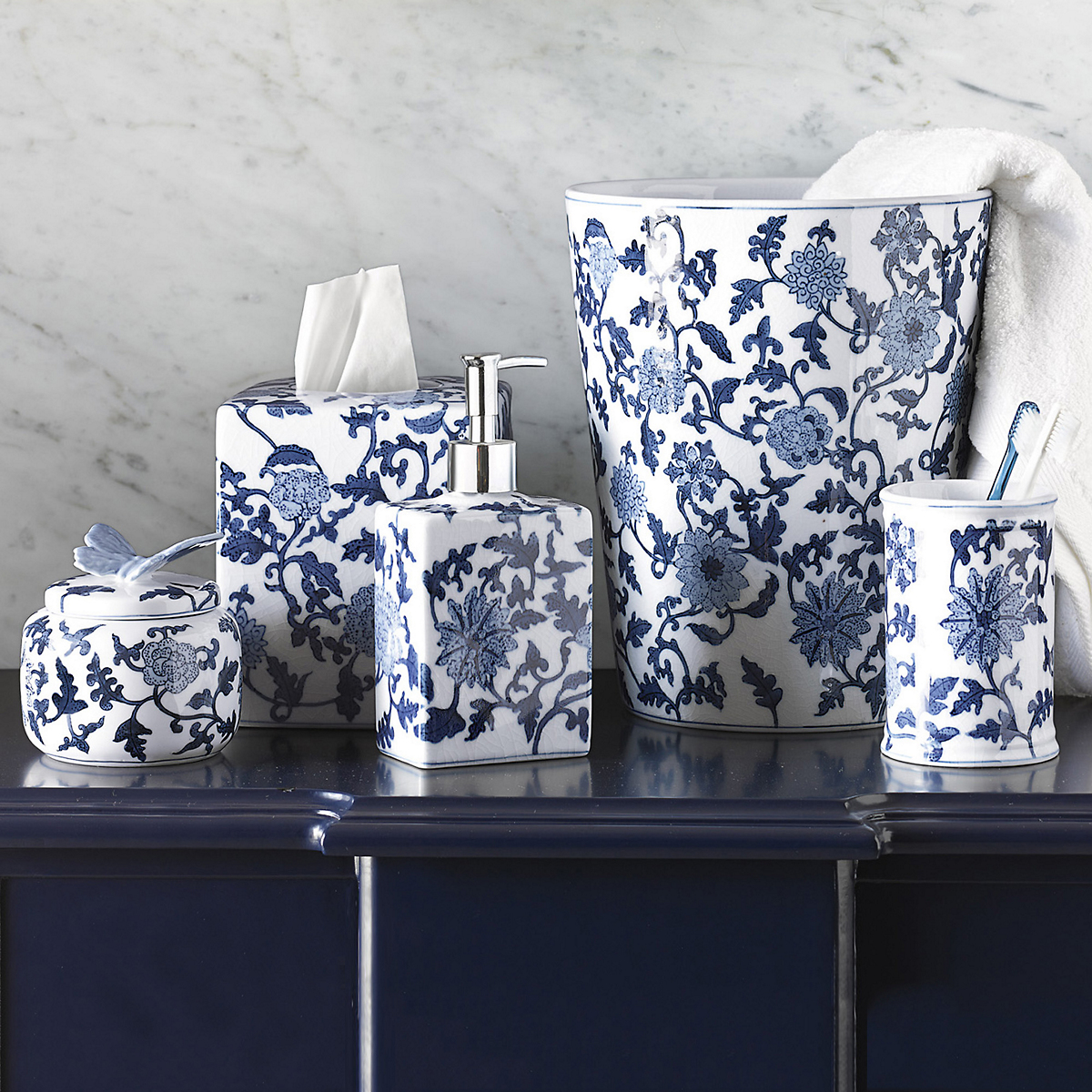 blue and white porcelain bathroom accessories blue amp white bath porcelain wastebasket gump s 25166