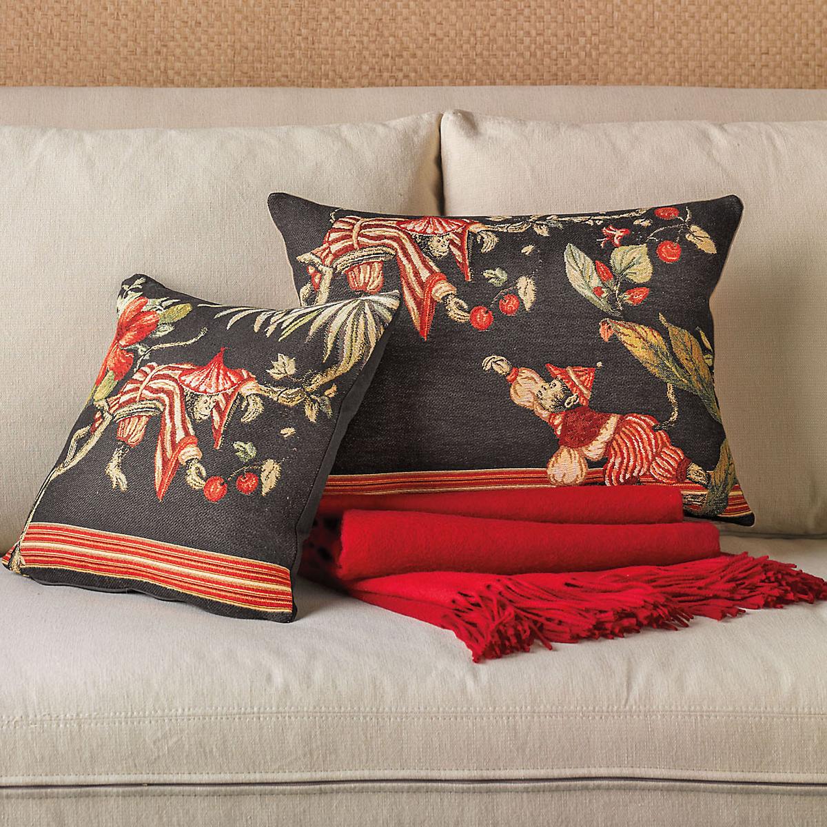 Black Chinoiserie Monkey Pillows