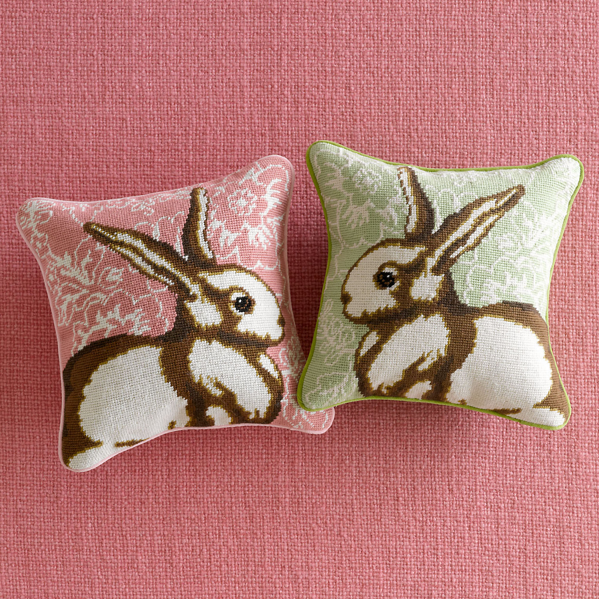 Needlepoint Easter Bunny Pillows