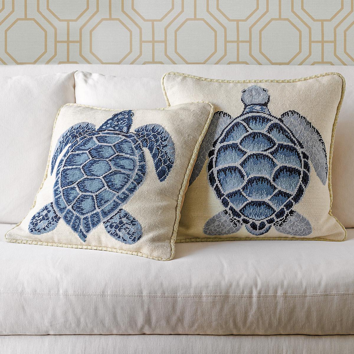 Sea Turtle Needlepoint Pillows