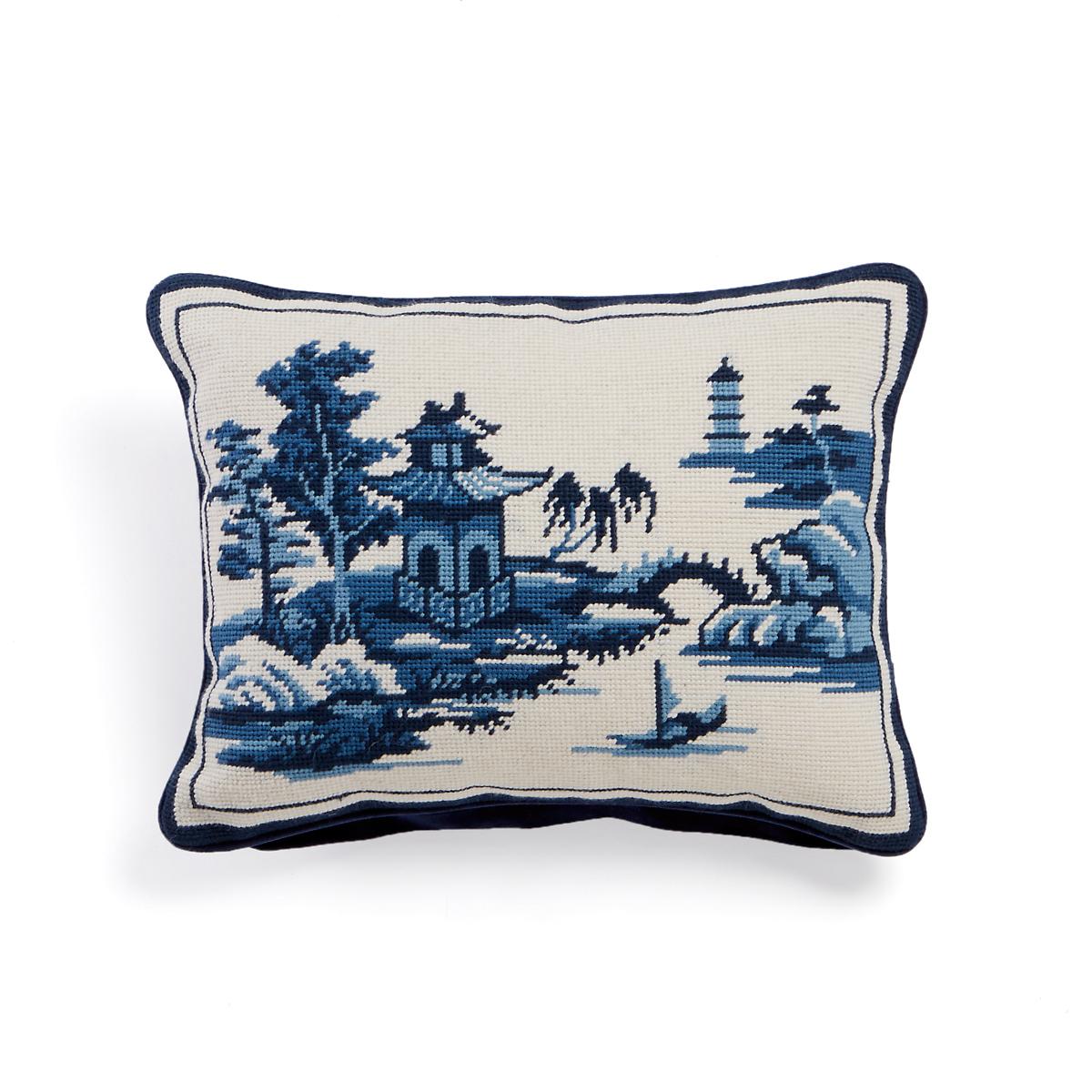 Canton Blue Pagoda Needlepoint Pillow