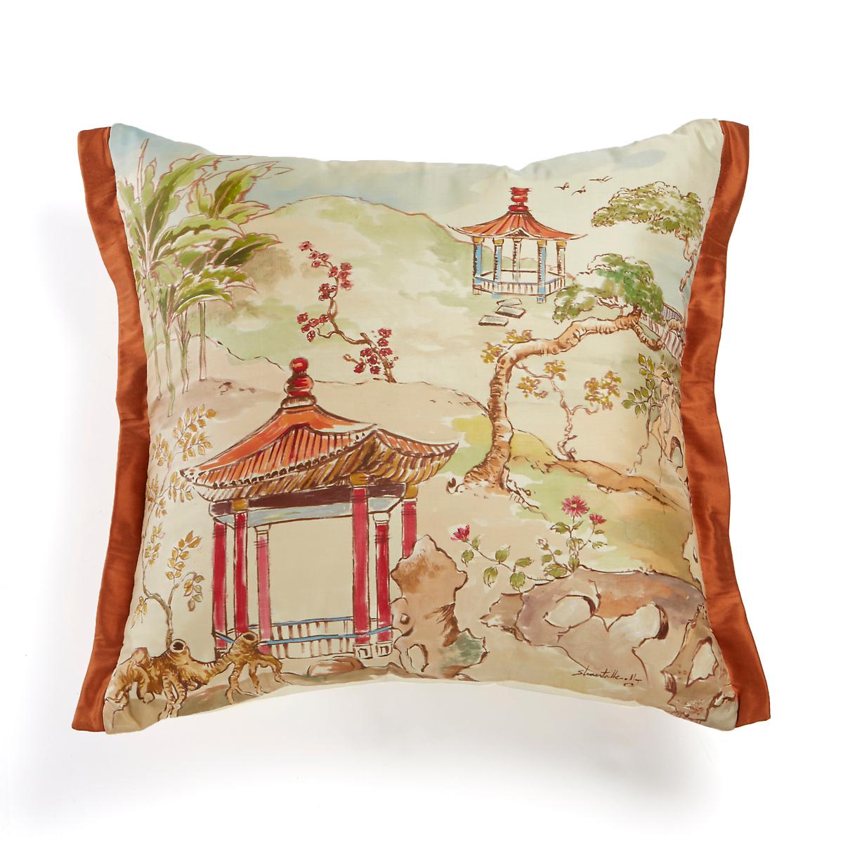 Handpainted Pagoda Pillow
