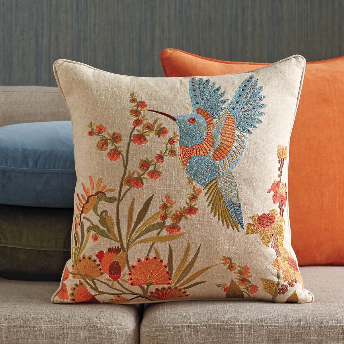 Hummingbird Embroidered Pillow