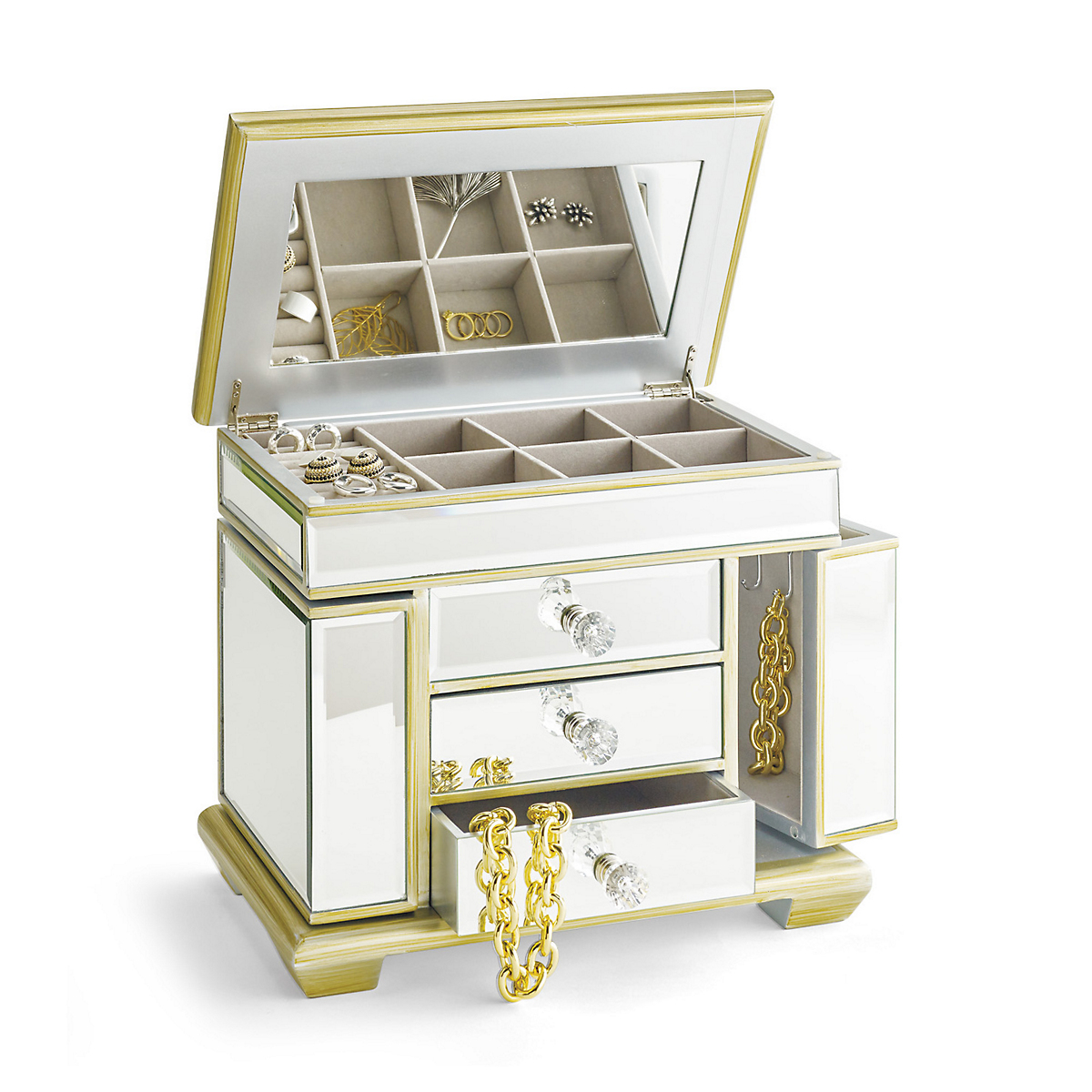 jewelry boxes with mirrors grand mirrored jewelry box gump s 145
