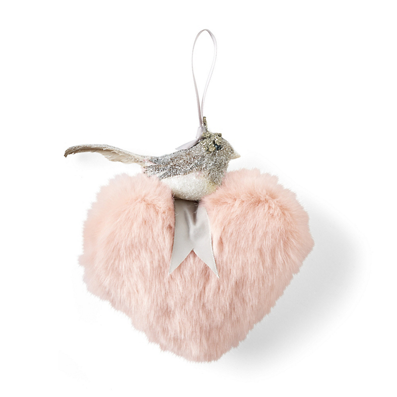 Faux Fur Heart With Bird Christmas Ornament