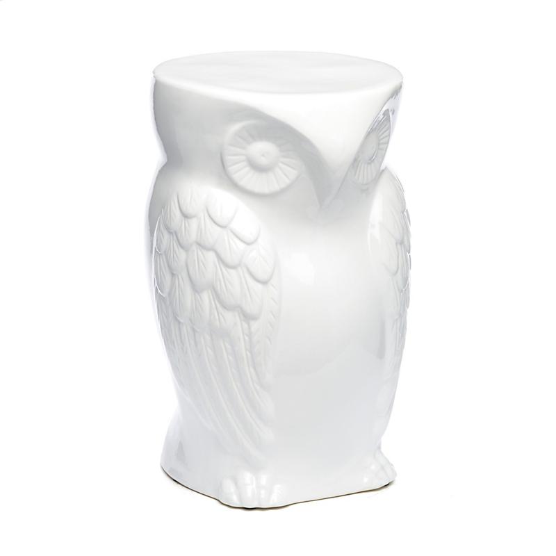 White Owl Garden Stool