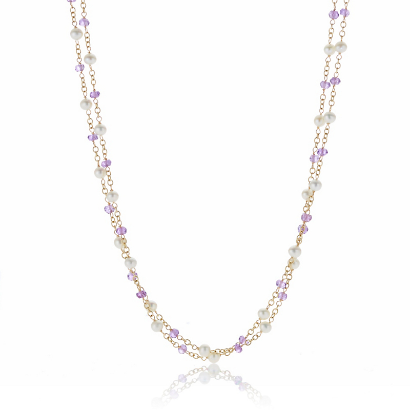 Petite Amethyst Freshwater Pearl Double Chain Necklace