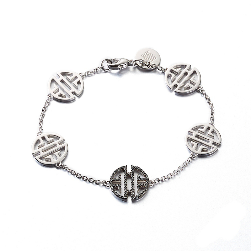 Shou symbol jewelry gumps san francisco gumps silver shou black diamond bracelet buycottarizona Image collections