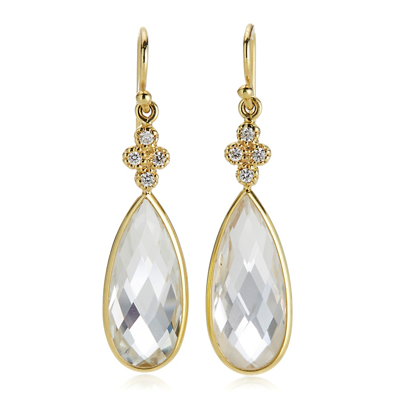 White Topaz Teardrop Earrings With Diamonds